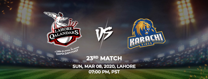 Lahore Qalandars vs Karachi Kings 23th Match (PSL 2020)