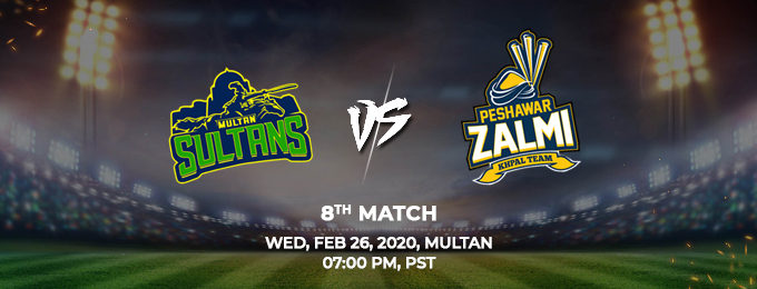 multan sultans  vs peshawar zalmi 8th match (psl 2020)