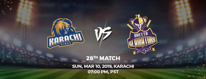 Karachi King VS Quetta Gladiators United 28th Match (PSL 2019)