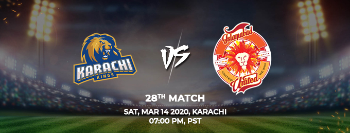 karachi kings vs islamabad united 28th match (psl 2020)
