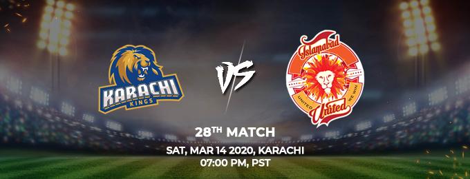 Karachi Kings vs Islamabad United 28th Match (PSL 2020)
