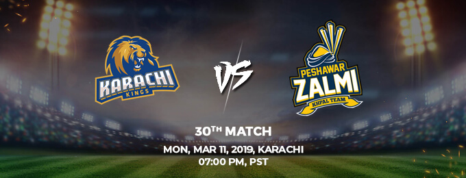 Karachi King VS Peshawar Zalmi 30th Match (PSL 2019)