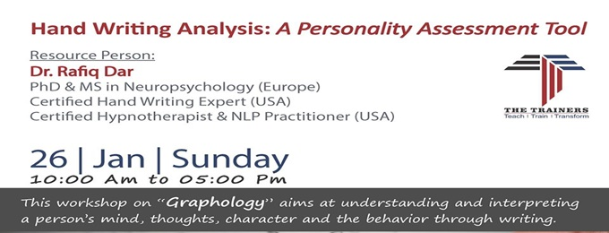 workshop on hand writing analysis:a personality assessment tool