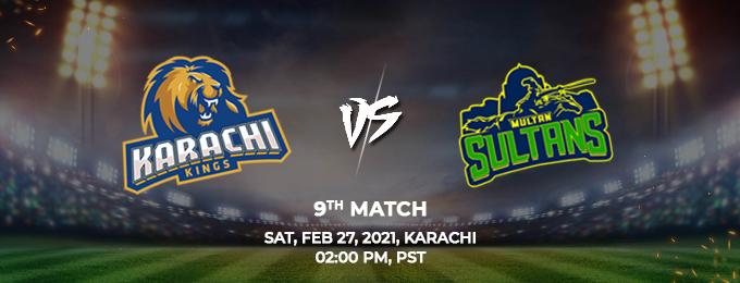Karachi Kings VS Multan Sultans 9th Match (PSL 2021)