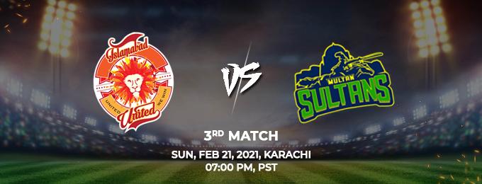 Islamabad United VS Multan Sultans 3rd Match (PSL 2021)