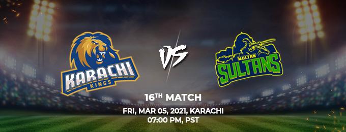 Karachi Kings VS Multan Sultans 16th Match (PSL 2021)