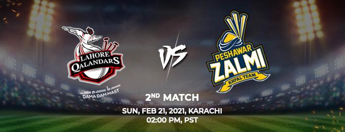 Lahore Qalandars v Peshawar Zalmi 2nd Match (PSL 2021)