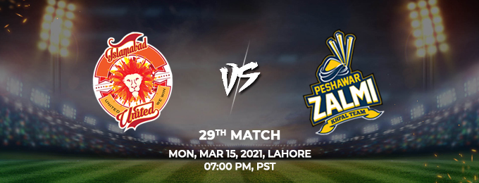 islamabad united vs peshawar zalmi 29th match (psl 2021)