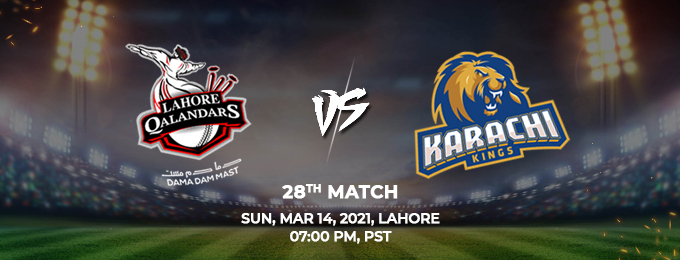 lahore qalandars vs karachi kings 28th match (psl 2021)