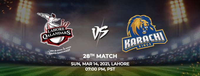 Lahore Qalandars VS Karachi Kings 28th Match (PSL 2021)