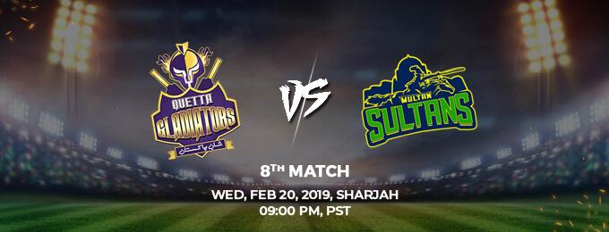 Quetta Gladiators VS Multan Sultans 8th Match (PSL 2019)