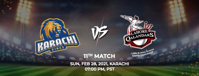 Karachi Kings VS Lahore Qalandars 11th Match (PSL 2021)