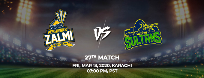 peshawar zalmi vs multan sultans 27th match (psl 2020)