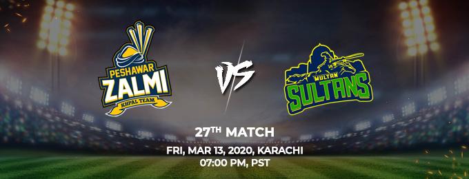 Peshawar Zalmi vs Multan Sultans 27th Match (PSL 2020)