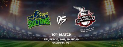 multan sultans vs lahore qalandars 10th match (psl 2019)