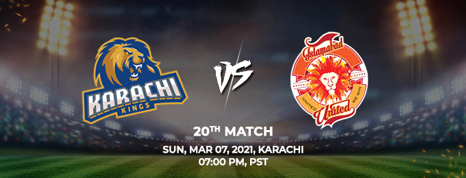 karachi kings vs islamabad united 20th match (psl 2021)