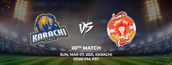 Karachi Kings VS Islamabad United 20th Match (PSL 2021)