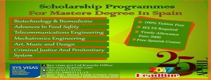 masters scholarship in spain