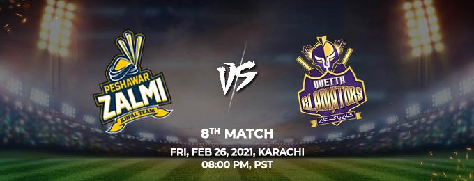 Peshawar Zalmi VS Quetta Gladiators 8th Match (PSL 2021)