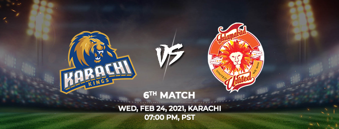 karachi Kings VS Islamabad United 6th Match (PSL 2021)