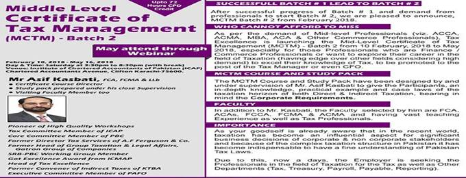 middle level certificate of tax management