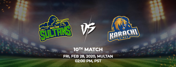 multan sultans vs karachi kings 10th match (psl 2020)
