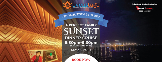 sunset family cruise with live music, bbq, games & magic show