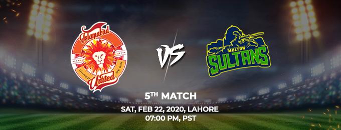Islamabad United  vs Multan Sultans 5th Match (PSL 2020)
