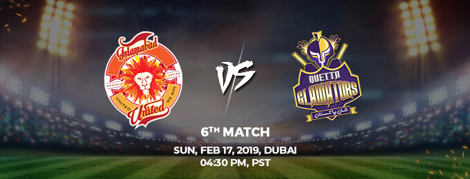 Islamabad United VS Quetta Gladiators 6th Match (PSL 2019)