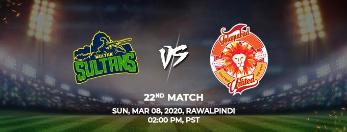 Multan Sultans vs Islamabad United 22th Match (PSL 2020)