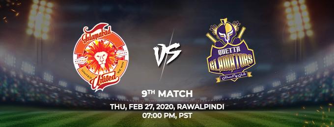 Islamabad United vs Quetta Gladiators 9th Match (PSL 2020)