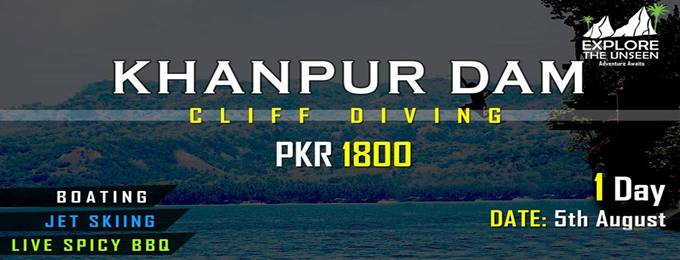 cliff diving/ jet skiing/ boating at khanpur dam