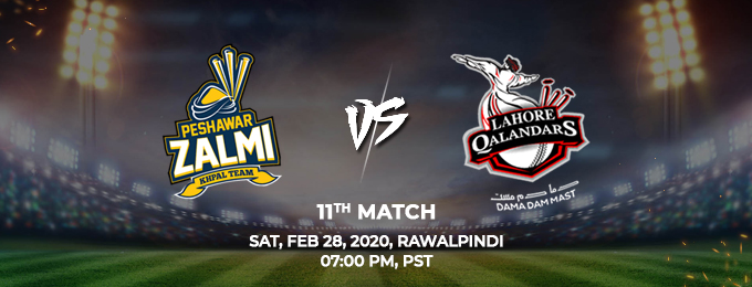 peshawar zalmi vs lahore qalandars 11th match (psl 2020)