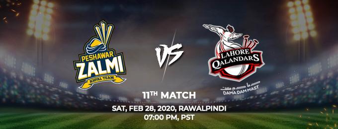 Peshawar Zalmi vs Lahore Qalandars 11th Match (PSL 2020)