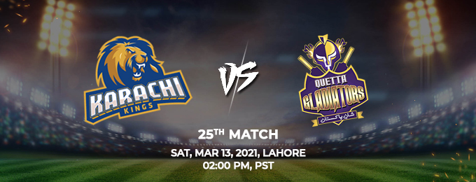 karachi kings vs quetta gladiators 25th match (psl 2021)