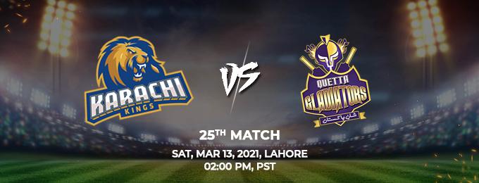 Karachi Kings VS Quetta Gladiators 25th Match (PSL 2021)