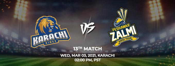 Karachi Kings VS Peshawar Zalmi 13th Match (PSL 2021)