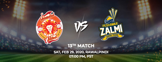 islamabad united vs peshawar zalmi 13th match (psl 2020)