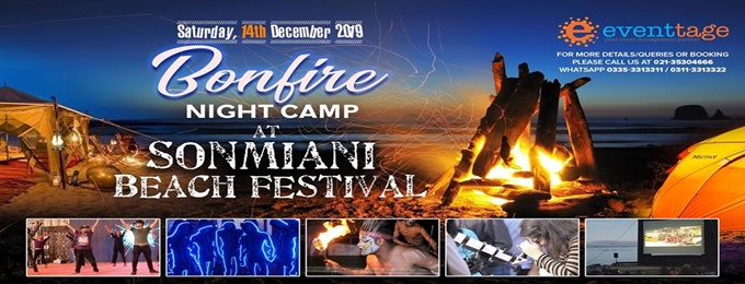 bonfire / night camp festival at sonmiani beach