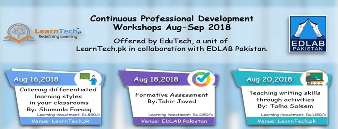 continuous professional development workshops aug-sep 2018