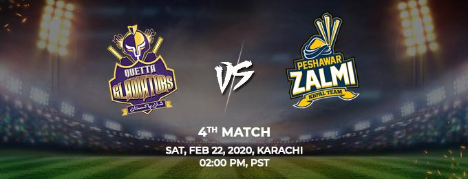 Quetta Gladiators  vs Peshawar Zalmi 4th Match (PSL 2020)