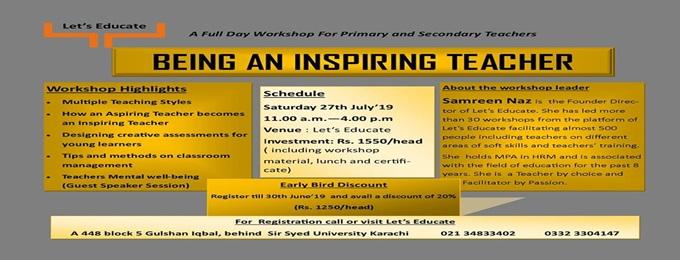 full day workshop: being an inspiring teacher
