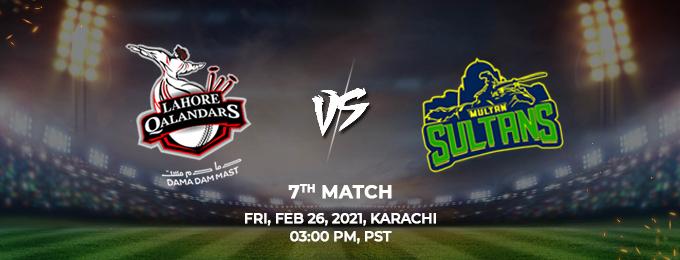 Lahore Qalandars VS Multan Sultans 7th Match (PSL 2021)