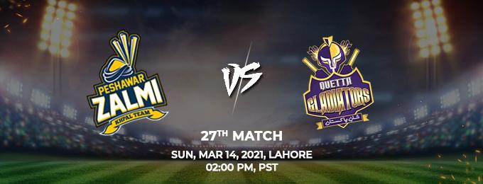 Peshawar Zalmi VS Quetta Gladiators 27th Match (PSL 2021)