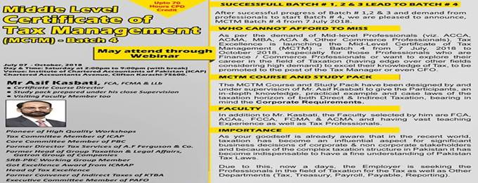 middle level certificate of tax management (mctm) batch 4