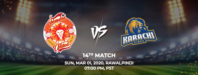 islamabad united vs karachi kings 14th match (psl 2020)