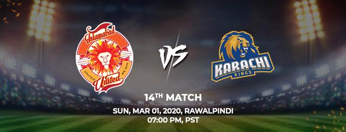 Islamabad United vs Karachi Kings 14th Match (PSL 2020)