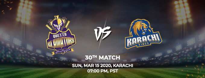 quetta gladiators vs karachi kings 29th match (psl 2020)