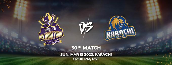 Quetta Gladiators vs Karachi Kings 29th Match (PSL 2020)