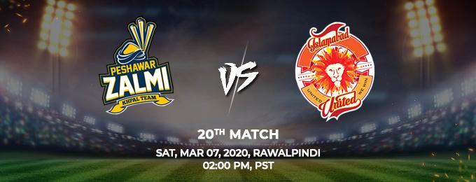 Peshawar Zalmi vs Islamabad United 20th Match (PSL 2020)